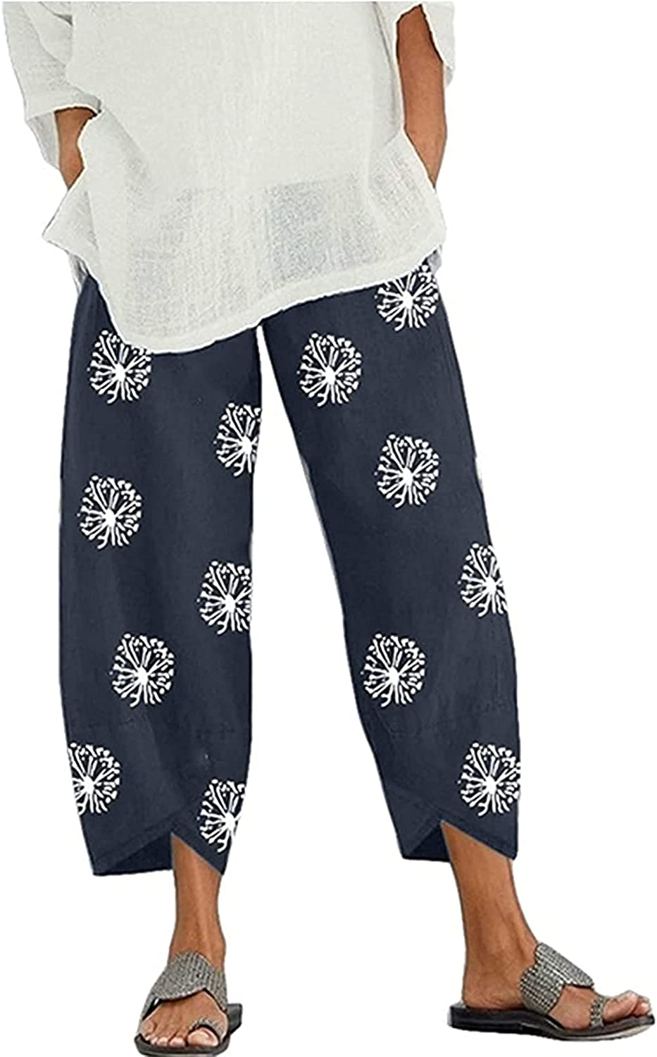GADSUVI Summer Very popular Pants for Women Linen Fashionable Cotton Casual Pockets Wide