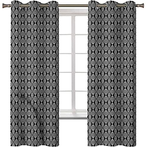 Cortina opaca para ventana con aislamiento térmico en blanco y negro, celosía Zig Zag, 2 paneles de 42 x 72 pulgadas con ojales para sala de estar