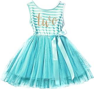 IBTOM CASTLE Baby Girls 1st/2nd/3rd Birthday Cake Smash Crown Princess Outfit Striped Shiny Party Tulle Tutu Kids Dress