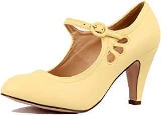 Womens Mary Jane Chunky Heel Pumps - Comfortable Mid Kitten Heel Shoe with Ankle Strap