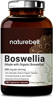 NATUREBELL Organic Boswellia Extract Capsules, 600mg Per Serving, 240 Capsules with Black Pepper, Strongly Supports Muscle and Joint Health, Non-GMO, Made with Organic Boswellia