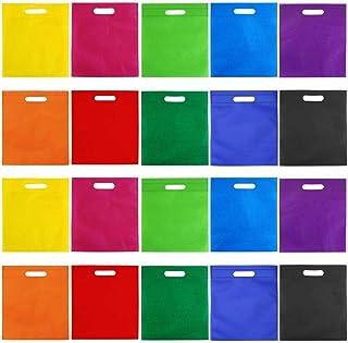 BBGSFDC 50 Piezas 9.5 por 11.5 Pulgadas Bolsas no Tejidas Bolso Bolsa de Arco Iris Bolsa de Asas Party Gift Handles Bag Fa...