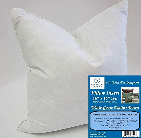 16 X 16 28oz Pillow Insert 90 10 White Goose Feather Down 2 Oversized Firm Filled Actual Size 18 X18