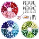 3 Cajas 18 Colores 2mm Mini Cuentas Cuentas de Cristal Mini Cuentas de Semillas Sueltas de Vidrio Cuentas de Colores para Collares con Caja para DIY Pulseras Collares Bisutería