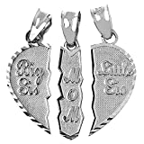 Mother's Jewelry Textured Sterling Silver 3-Piece Mom and Daughters Breakable Heart Necklace Pendant (Broken, 3 Pieces)