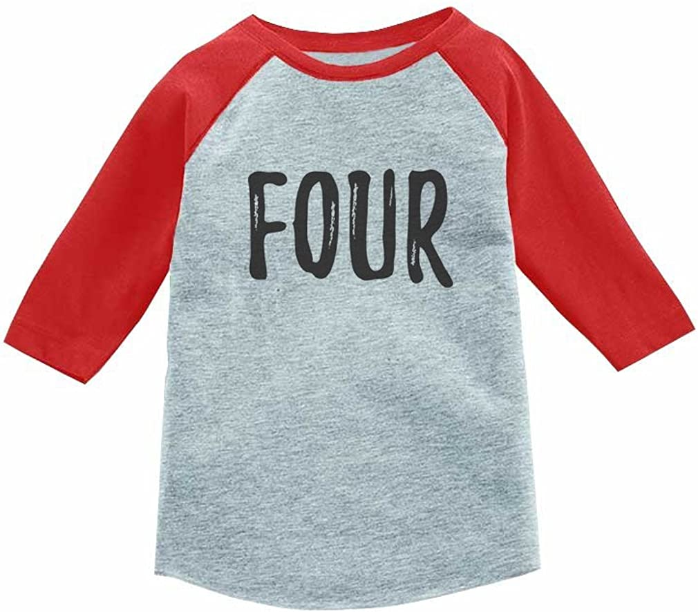 Tstars 4th Birthday Gift for 4 Year Old Boy Girl 3/4 Sleeve Raglan Toddler Fourth Shirt