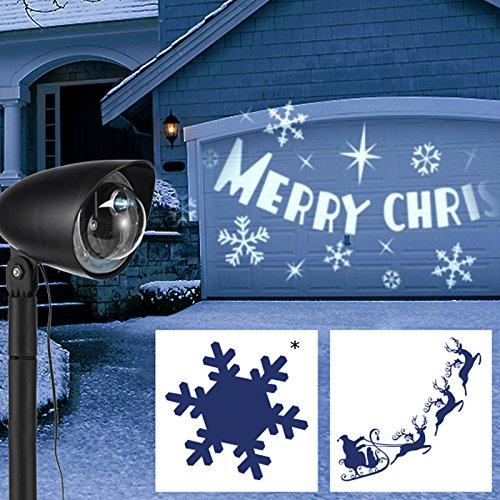 LED-Strahler mit tollem Dreheffekt Schriftzug Schneeflocke für Drinnen und Draussen • LED Projektor Weihnachtsbeleuchtung Gartendeko Star Shower Weihnachtsdeko Außen