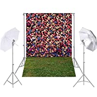 1.5 * 2.1m / 5 * 7ft写真の背景庭の花の芝生の背景写真スタジオの小道具