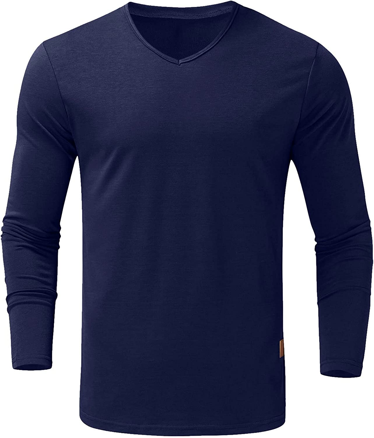 Huangse Men's Long Sleeve Winter Auntumn Casual T-Shirts Pleated Long Sleeve Henley Shirts Slim Workout Sports Tops