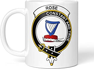 Tenacitee Scottish Clan Crest Badge Rose Coffee Mug, 11oz, White