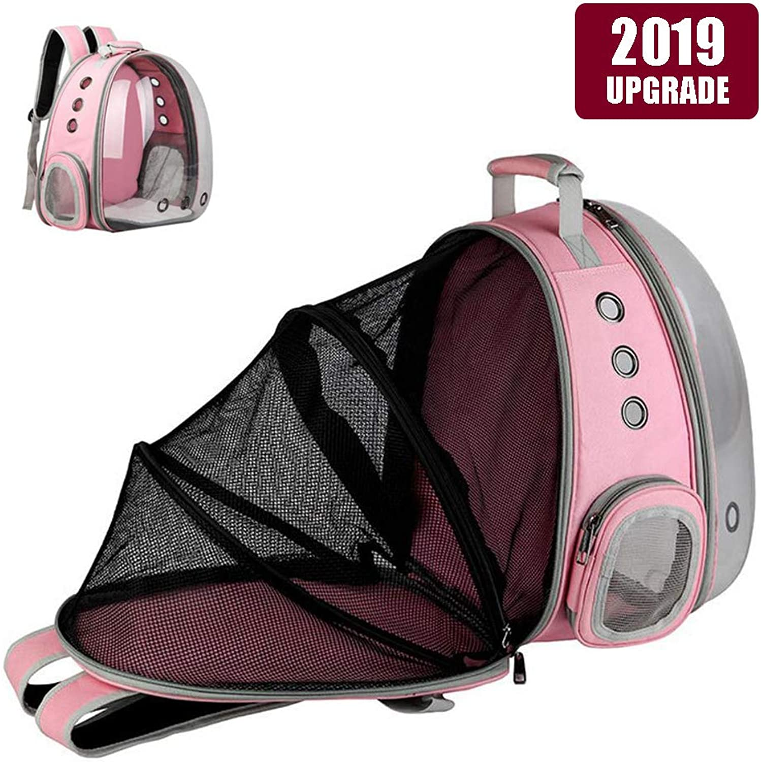 Expandable Pet Bubble Backpack,Hamkaw [2019 Newest] Foldable Transparent Panoramic Cat Carrier with 9 Venting Hole Breathable Portable Pet Carrier Backpack Travel Space Capsule for Cat Dog