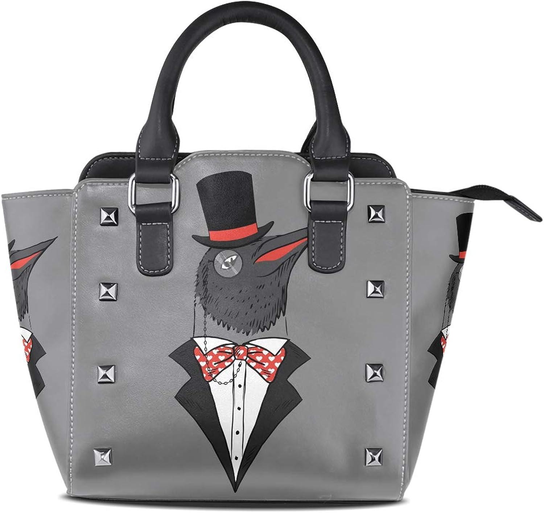 Crown Penguine Women Leather Studded Bags Shoulder Bags Tote Bag Handbags