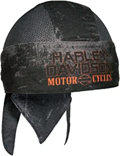 HARLEY-DAVIDSON Mens Charcoal Sublimated H-D Head Wrap, Distressed Black HW51681