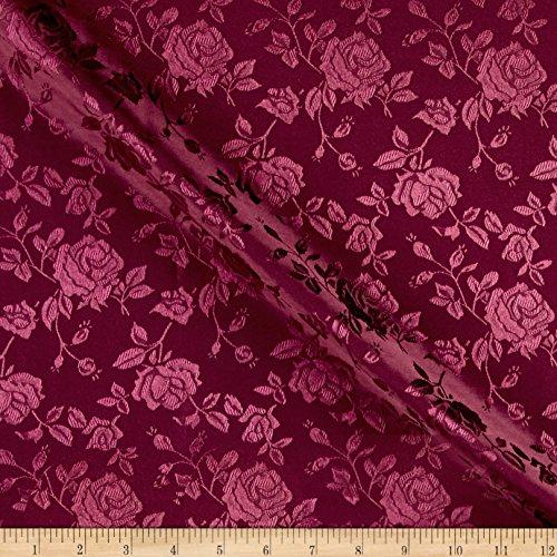 Ben Textiles Rose Satin Jaquard Fabric, Burgundy, Fabric by the yard