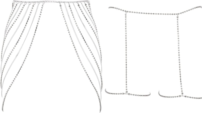 Masedy 2Pcs Sexy Waist Belt Rhinestone Belly Chains for Women Bikini Leg Body Chain Summer Beach Jewelry Set
