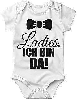 Mikalino Babybody mit Spruch für Jungen Mädchen Unisex Kurzarm Ladies, ich Bin da!   handbedruckt in Deutschland   Handmade with Love