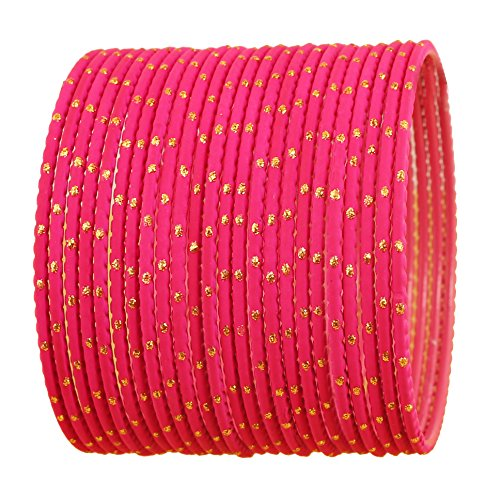 Touchstone New Colorful Bangle Collection Indian Bollywood Exclusive Golden Glaze Hot Pink Color Designer Jewelry Special Large Size Bangle Bracelets. Set of 24 for Women.