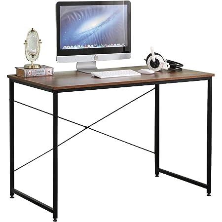DlandHome Bureau Informatique Poste de Travail 75 x 110 x 60 cm Style Industriel Table d'étude/d'écriture pour Maison Couleur Rétro/Noir