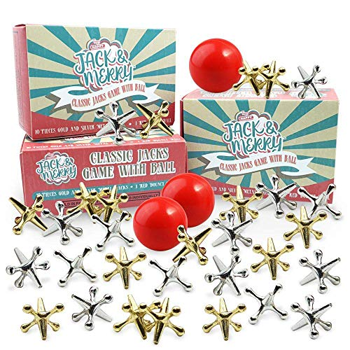 HAPPY JACK & MERRY 3 Sets Jacks Game with Ball, Jax Game, Jacks Game for Kids and Adult of All Ages