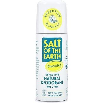 Salt of the Earth - Desodorante natural con roll-on, sin perfume, sin fragancia, vegano, protección de larga duración, aprobado por Leaping Bunny, 75 ml