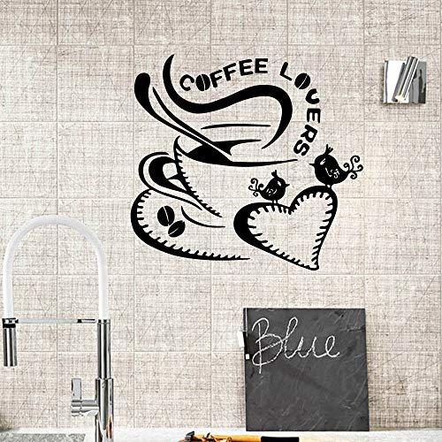 Njuxcnhg Kaffee Wandaufkleber Personalisierte Wandbilder Kreative Für Küche Decor Coffee Shop Dekoration Vinyl Wandtattoos 43X46 cm