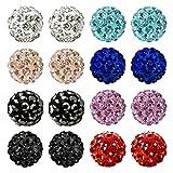 JewelrieShop Rhinestones Crystal Ball Stud Earrings Set Fireball Disco Ball Pave Bead Earrings Hypoallergenic for Teen Girls Women (8mm, 8pairs)