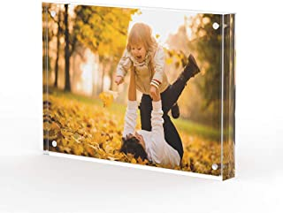 T ATHINK 4x6 Picture Frame Magnetic Desktop Acrylic Picture Display, Crystal Clear & Free Standing & Double Side Picture Frame