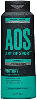 Art of Sport Activated Charcoal Body Wash for Men, Victory Scent, Cool Eucalyptus Fragrance with Tea Tree Oil and Aloe Vera, Deep Cleansing and Intensely Moisturizing, Sulfate Free, 16 fl oz