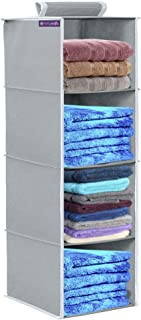 PrettyKrafts 4 Tiers Clothes Hanging Organizer, Wardrobe for Regular Garments, Shoes Storage Cupboard, Hanger Bag - Grey