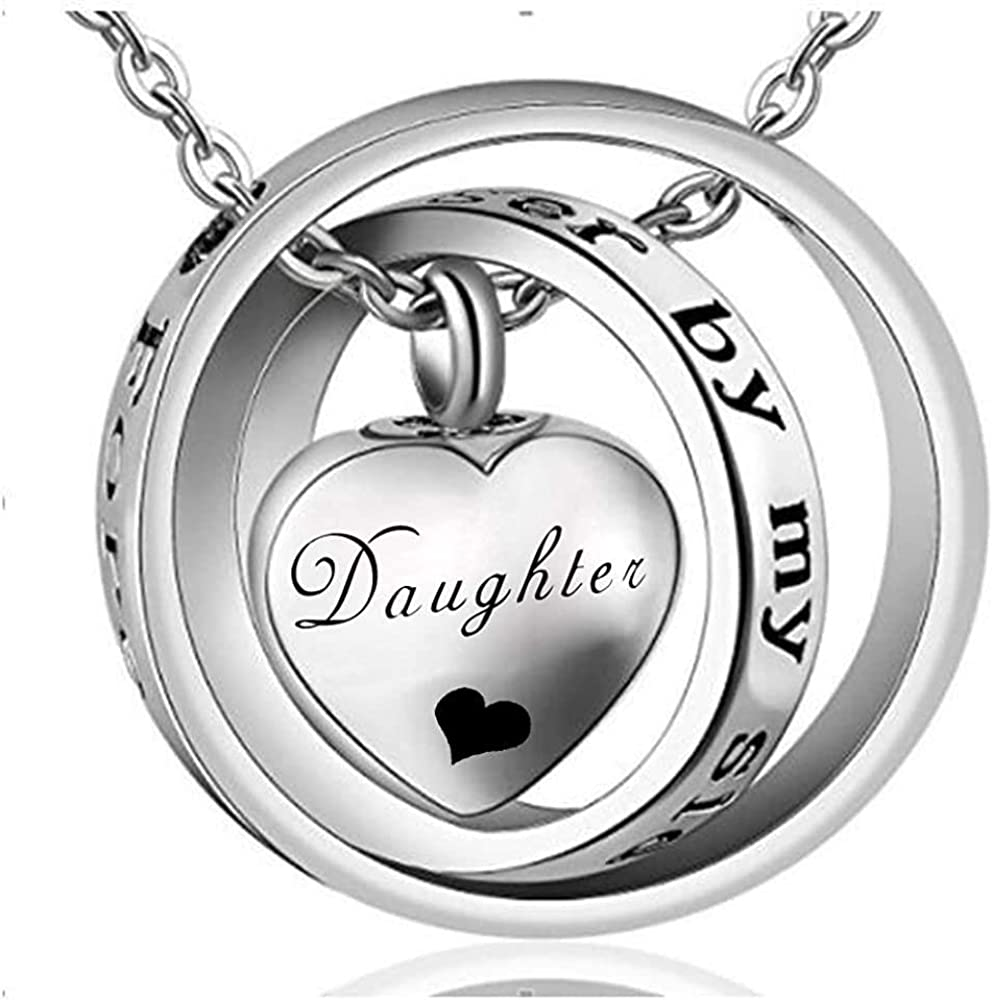 Ashes Memorial Ashes Chain Daughter Cremation Necklace No Longer My Side Forever in My Heart Necklaces Cremation Ashes Jewelry for mom & dad