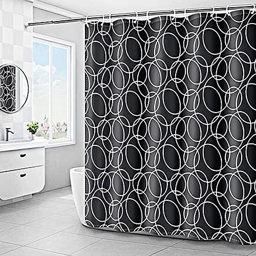 MeYuxg Tenda Doccia Antimuffa, Tenda da doccia Impermeabile Nero con 12 Ganci, Tenda per vasca da bagno lavabile, 180 x 200 cm