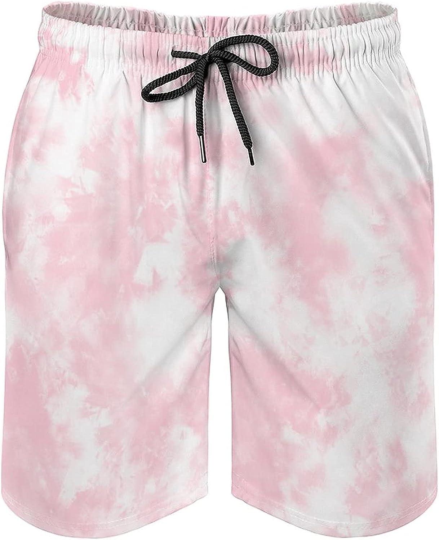 B&MAVIS Tie Dye Baby Pink Men's Swim Trunks Board Shorts with Mesh Lining & Pockets