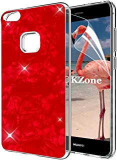 Huawei P10 Lite Case [with HD Screen Protector],Lucifa Luxury Cute Bling Glitter Soft Gel TPU Silicone Skin Cover Anti-scratch Protective Case for Huawei P10 Lite (Red)