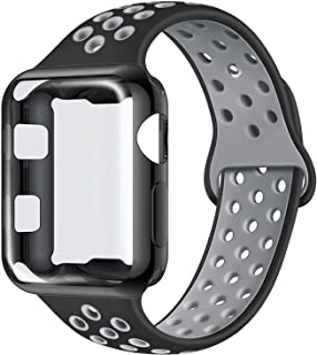 ADWLOF Compatible with Apple Watch Band with Case 38mm, Silicone Replacement Strap with Screen Protector Cover for Wristband for iWatch Series 3/2/1, Nike+, Sport, Edition,S/M,M/L,Black CoolGray