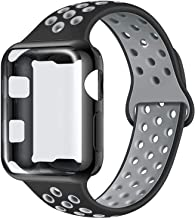 ADWLOF Compatible with Apple Watch Band with Case 38mm 40mm 42mm 44mm, Silicone Replacement Strap with Screen Protector Cover for Wristband for iWatch Series 5/4/3/2/1, Nike+, Sport, Edition