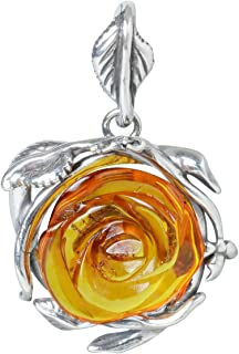 HolidayGiftShops Sterling Silver and Baltic Amber Pendant Rose