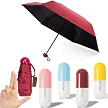 NEWCOM Ultra Lights and Small Mini Umbrella with Cute Capsule Case,5 Folding Compact Pocket Umbrella (Red)