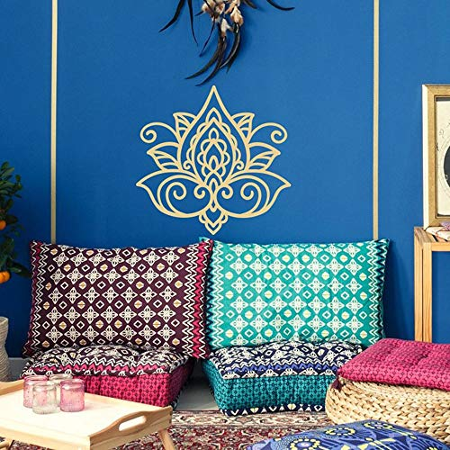 Mode Lotus Blume Wandtattoo Wandbild Lotus Mandala Aufkleber Boho Wandtattoo Marokkanisches Muster Böhmisch Buddhist Boho Wohnheim Yoga Dekor Hortensie Lila 30x29cm
