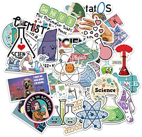 50 Pcs Science Stickers Experiment Decals for Water Bottle Hydro Flask Laptop Luggage Car Bike product image
