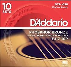 D'Addario EJ17 Phosphor Bronze Acoustic Guitar Strings, Medium (10 Pack) – Corrosion-Resistant Phosphor Bronze, Offers a W...