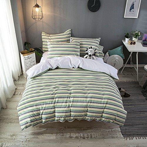 Merryfeel Seersucker Duvet Cover Set,100% Cotton Seersucker Stripe Duvet Cover Set,3 Pieces Bedding Set- Full/Queen