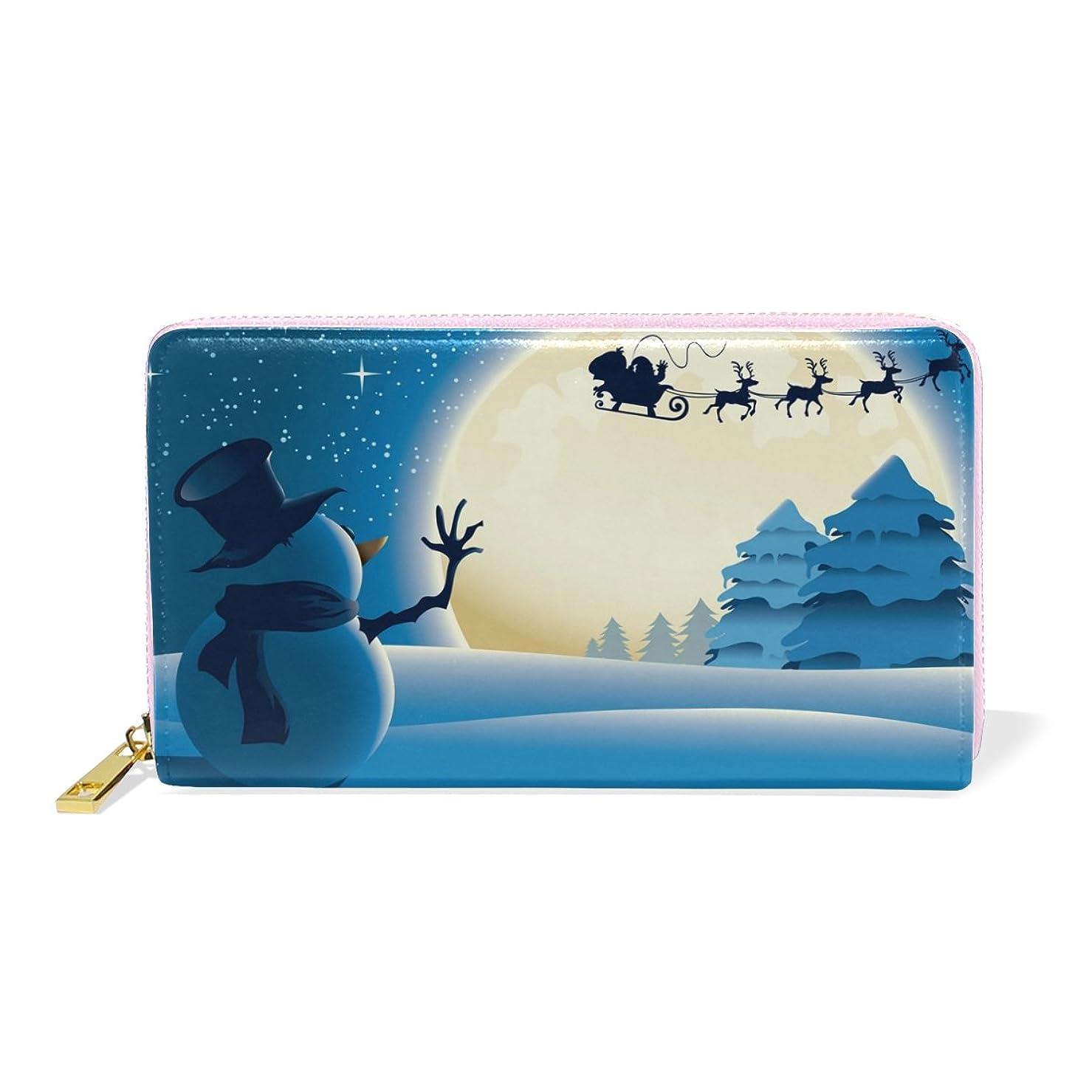 コークス居眠りするお願いしますAOMOKI 財布 長財布 レディース 本革 大容量 ラウンドファスナー 通勤 通学 雪だるま しか ムン クリスマス