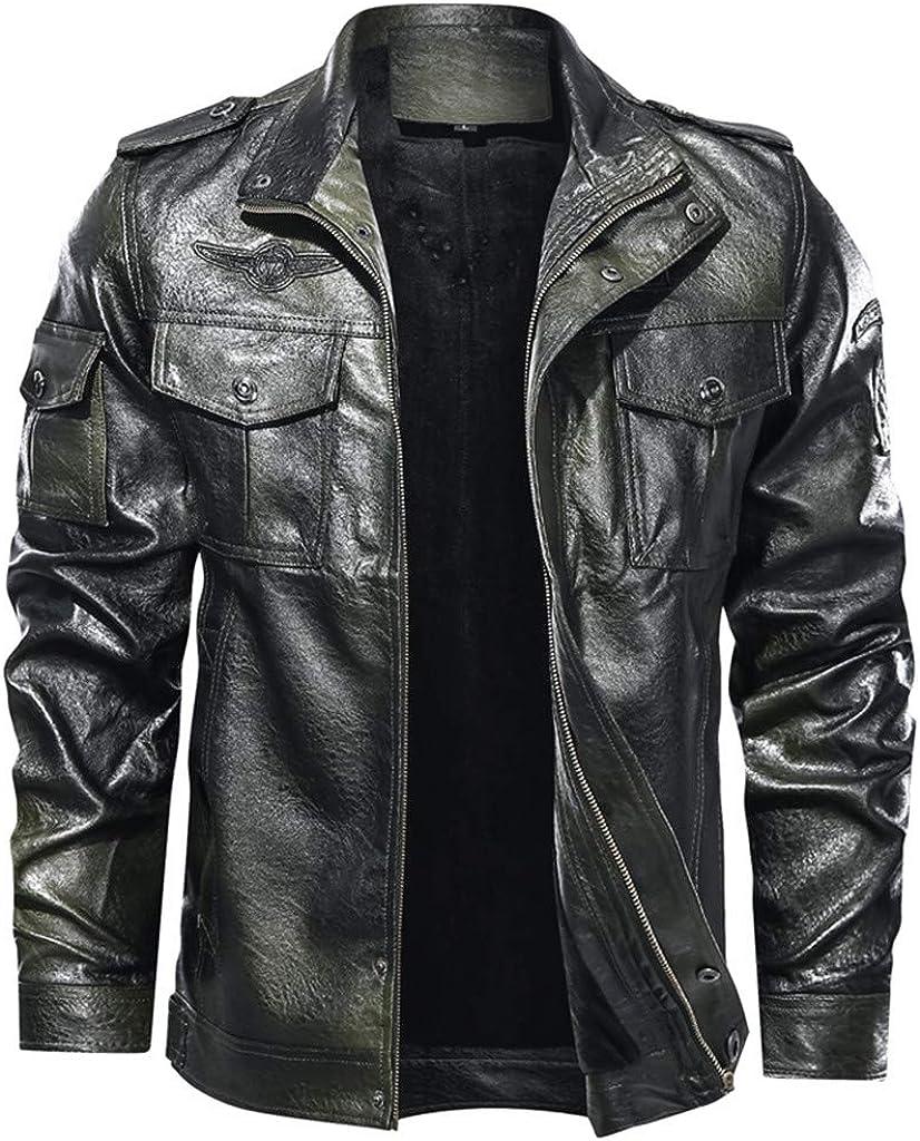 Men Casual Vintage Slim Zip Faux Leather Jacket Long Sleeve Stand Collar Multi-Pocket Coat Fall Winter Warm Outwear