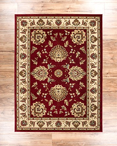 """Sultan Sarouk Red Persian Floral Oriental Formal Traditional 3x12 (2'7"""" x 12') Runner Rug Stain / Fade Resistant Contemporary Floral Thick Soft Plush Hallway Entryway Living Dining Room Area Rug"""