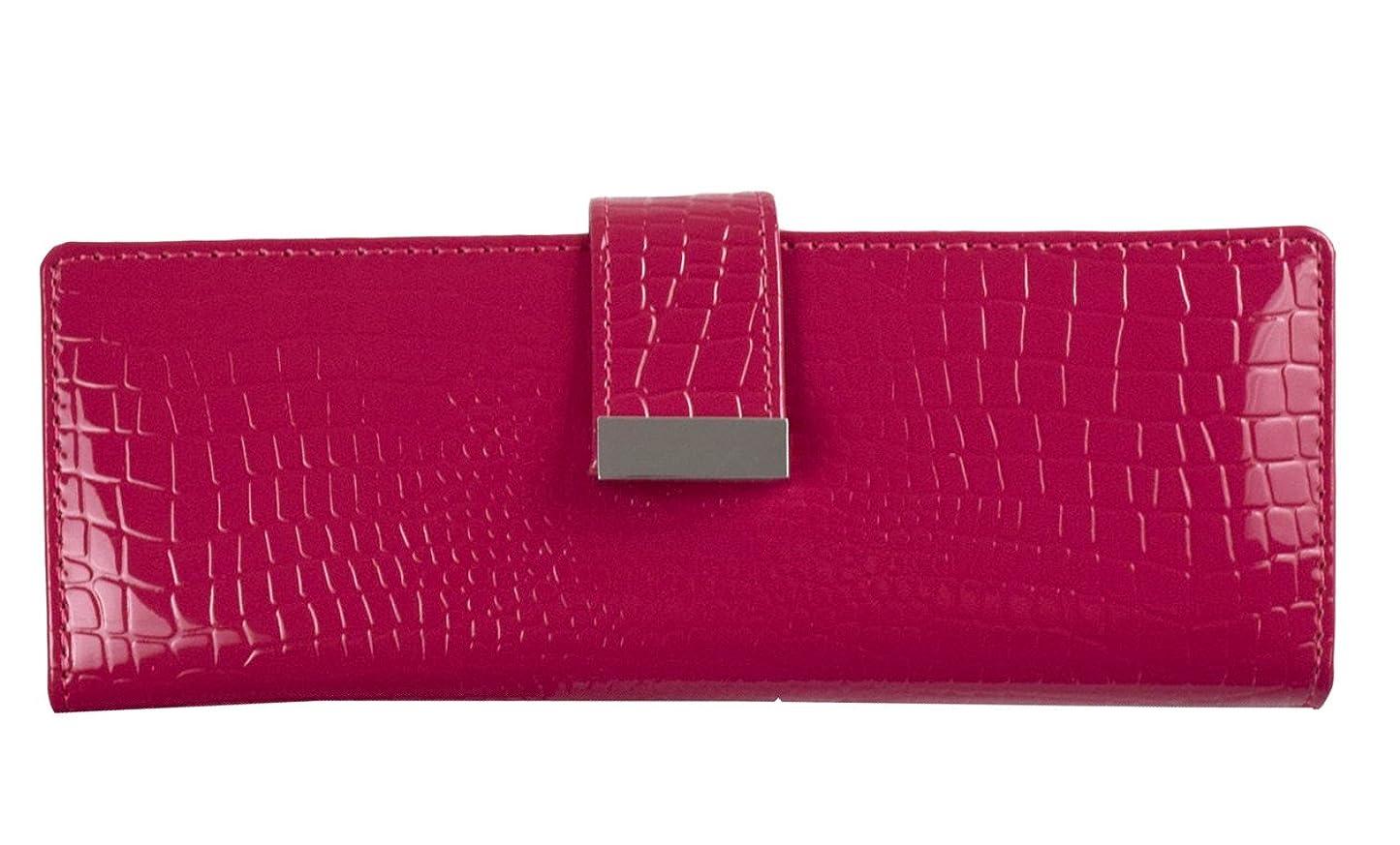 自宅でアブセイイデオロギーレディース 10色 本革エナメル クロコ調 レディース カードケース 財布 59ポケット(40枚ポケットとサイドに差し込み17ポケットとフリーポケット2個)付き 高級