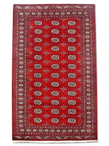 Pak Persian Rugs Tapis Noué Main Boukhara, Bourgogne/Rouge, Laine, Medium, 155 X 250 cm
