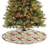 Falda rústica para árbol de Navidad, flores tropicales de Frangipani e Hibisco, mariposas exóticas c...