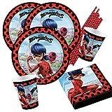 Amscan/Hobbyfun 44-teiliges Party-Set Miraculous Ladybug - Teller Becher Servietten Trinkhalme für...
