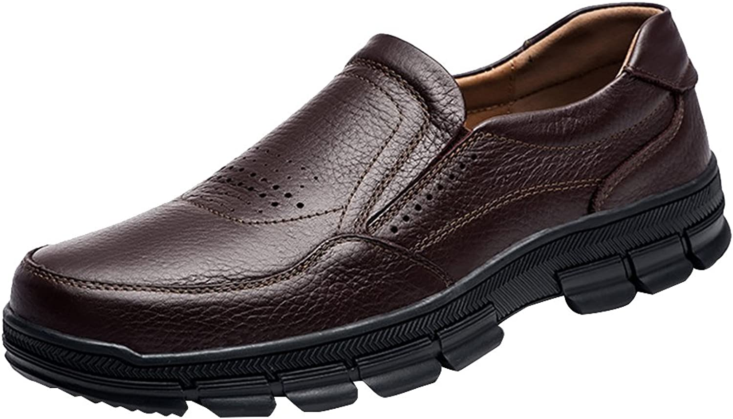 Snowman Lee Men's Genuine Leather and Non-Slip Rubber Relaxed Fit Breathable Inner Slip-On