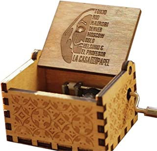 WooMax LA CASA DE PAPEL Bella Ciao Theme Music Box, 18 Note Mechanism Antique Carved Musical Box Toy Best Gift For Kids,Fr...